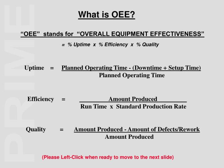 Oee stands for overall equipment effectiveness