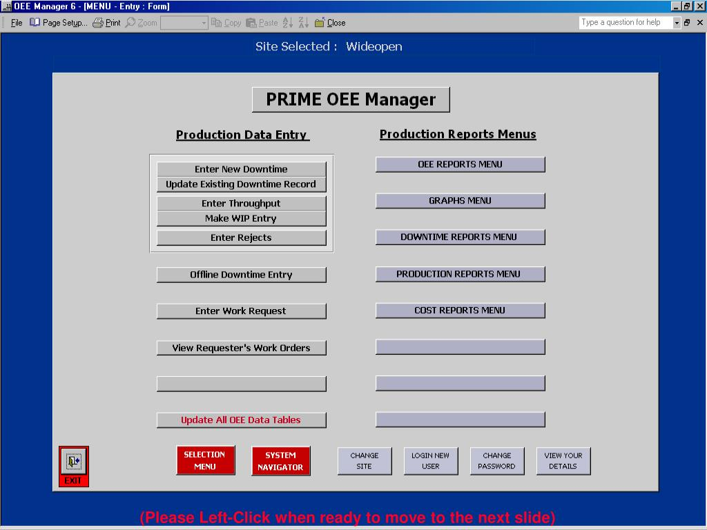 The OEE Management Menu comprises a data entry section, and a number of sets of reports and charts.