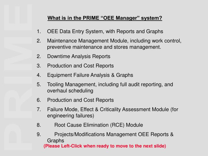 """What is in the PRIME """"OEE Manager"""" system?"""