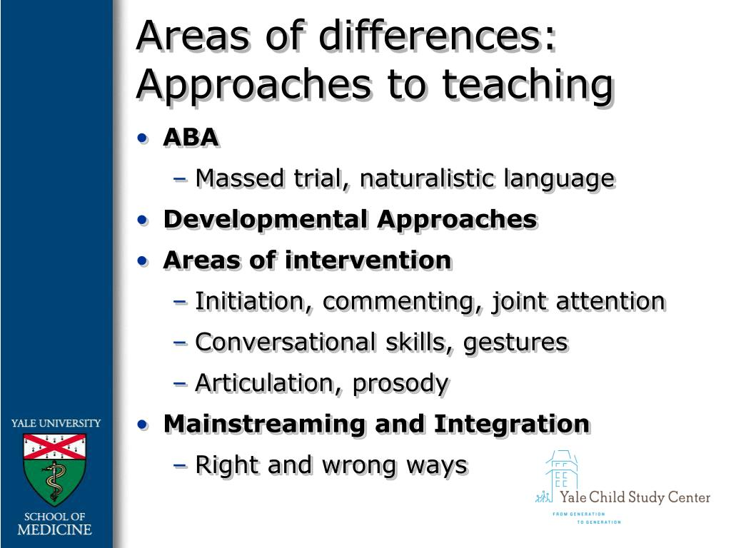Areas of differences: