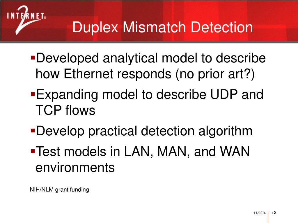 Duplex Mismatch Detection