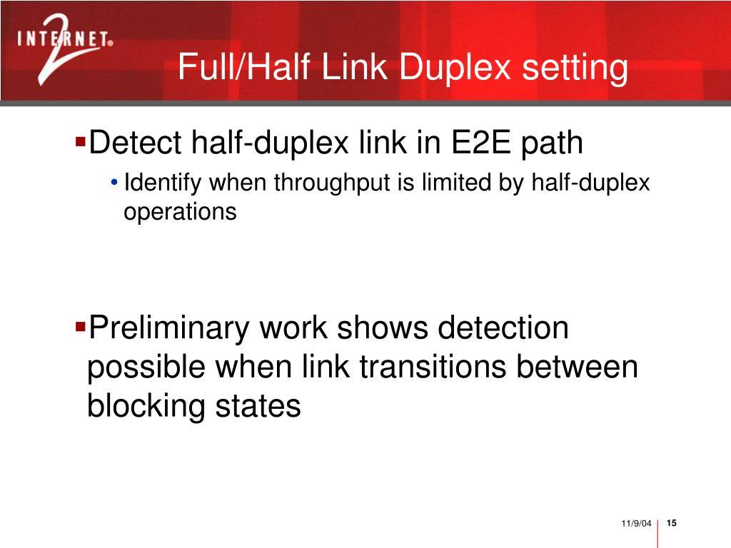 Full/Half Link Duplex setting