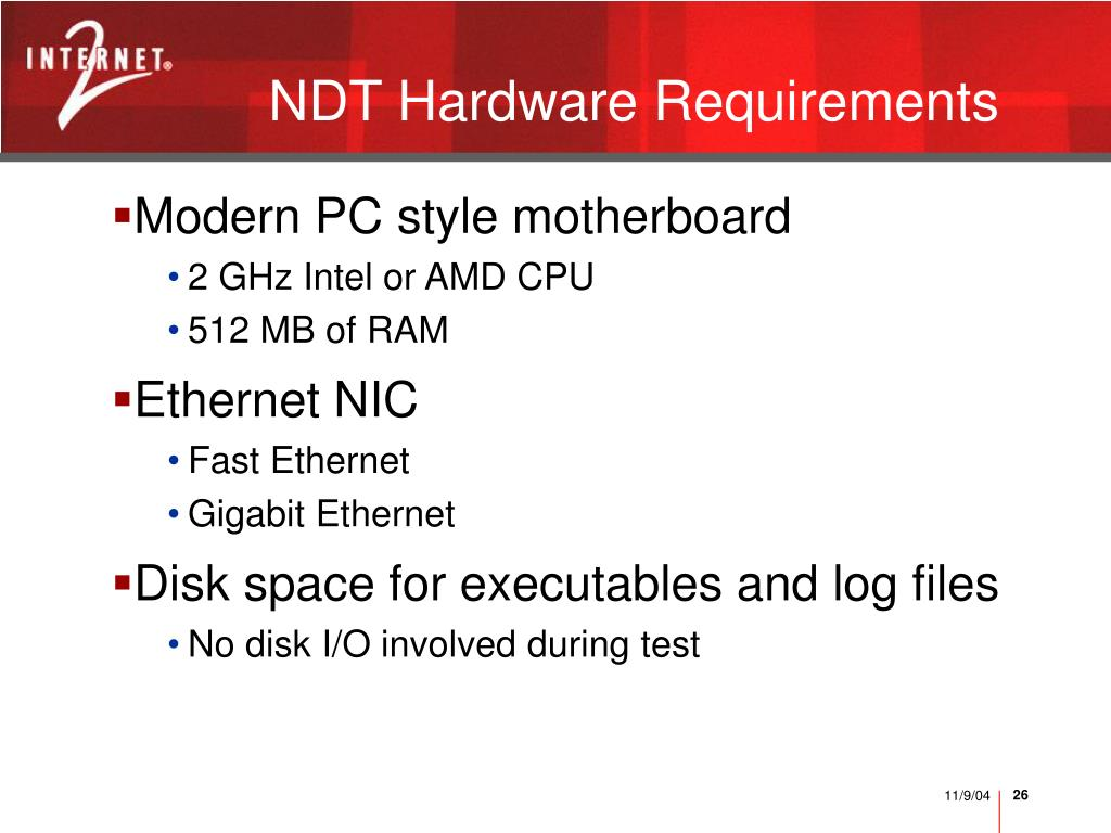 NDT Hardware Requirements