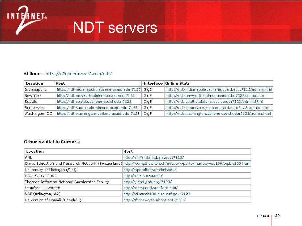NDT servers
