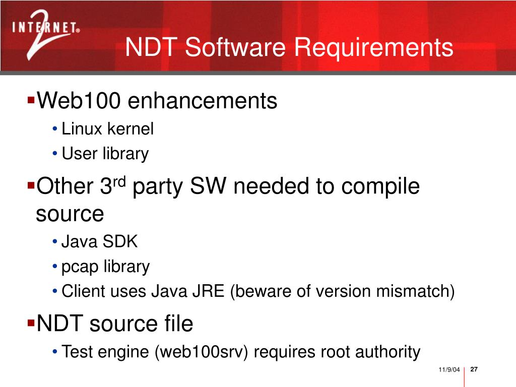NDT Software Requirements
