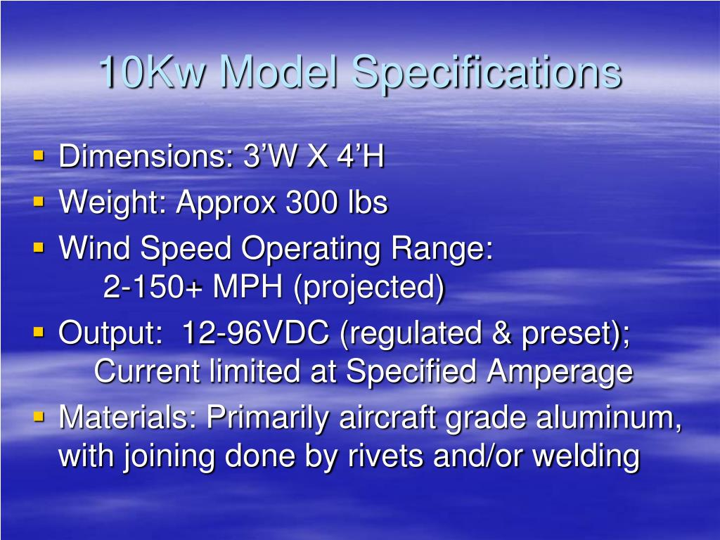 10Kw Model Specifications