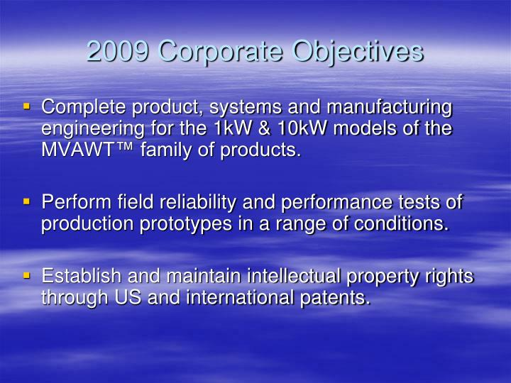 2009 corporate objectives