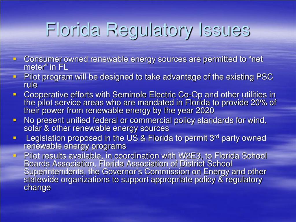 Florida Regulatory Issues