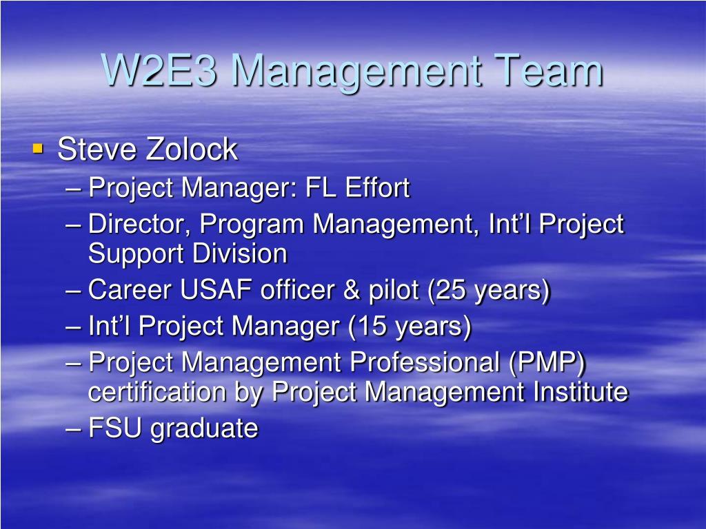 W2E3 Management Team