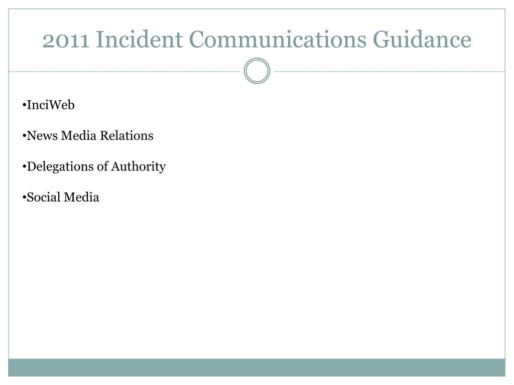 2011 Incident Communications Guidance