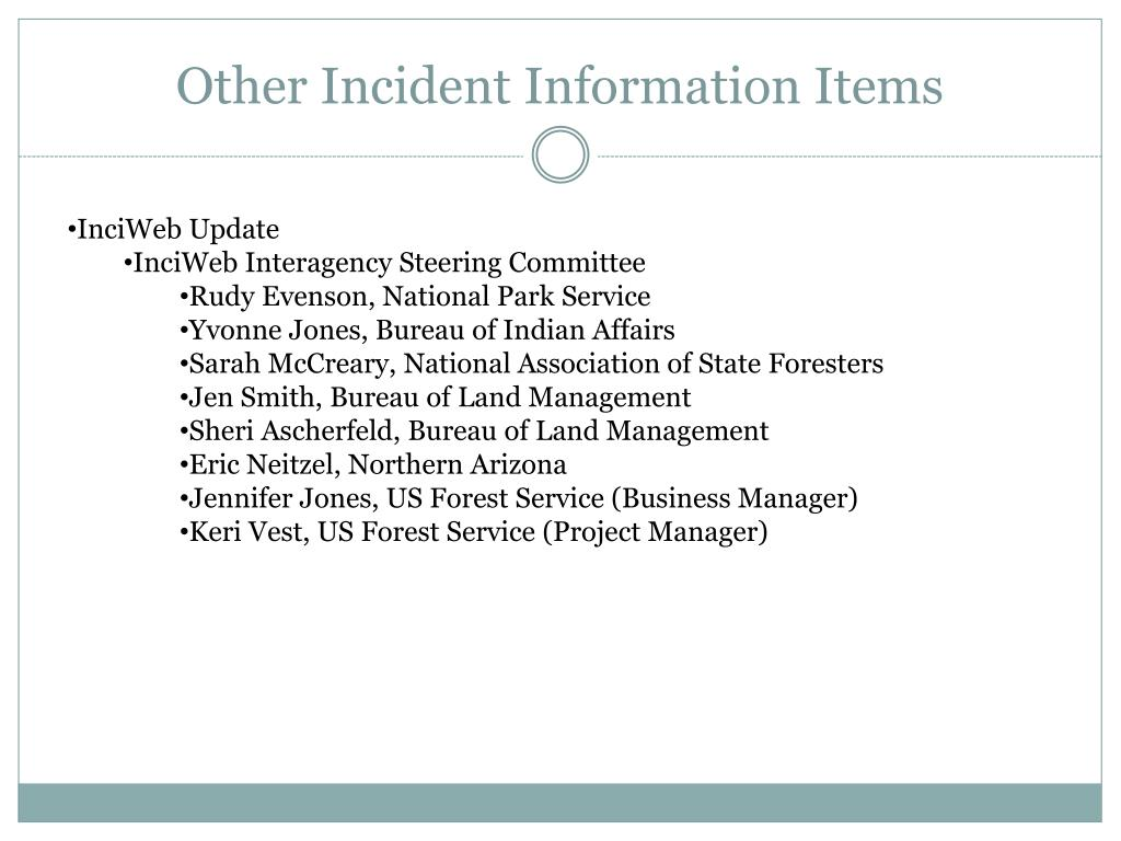 Other Incident Information Items