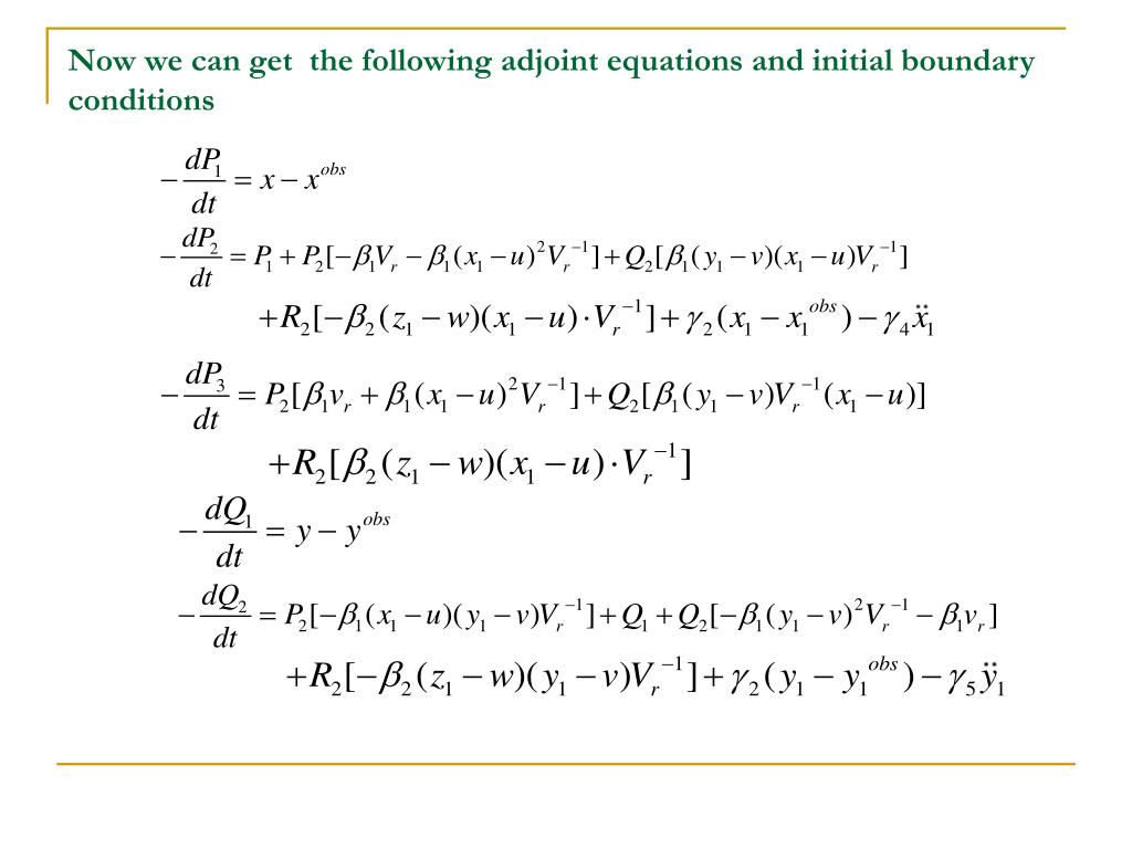 Now we can get  the following adjoint equations and initial boundary conditions