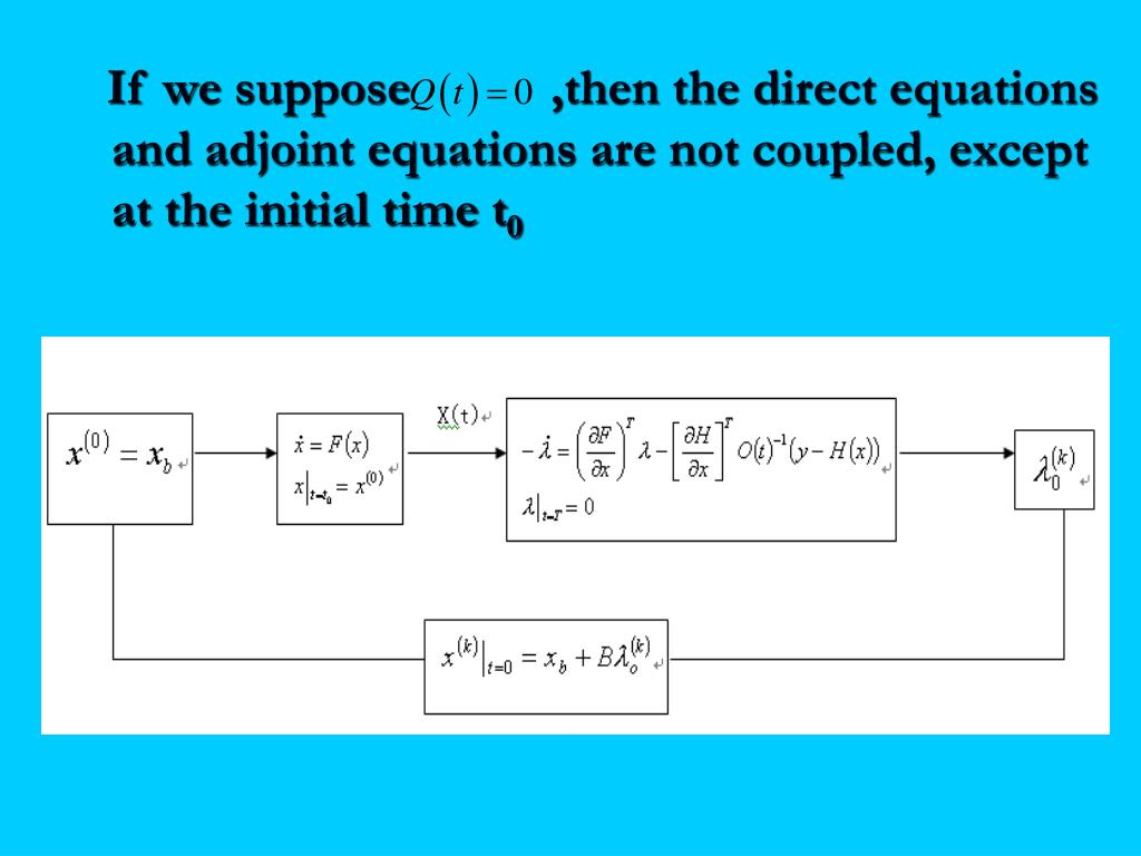 If we suppose           ,then the direct equations and adjoint equations are not coupled, except at the initial time t