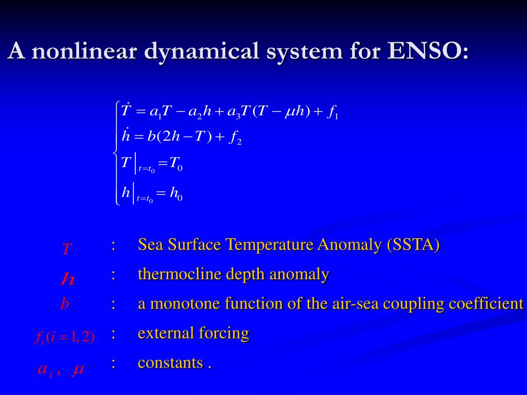 A nonlinear dynamical system for ENSO: