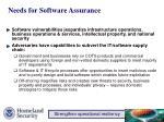 needs for software assurance