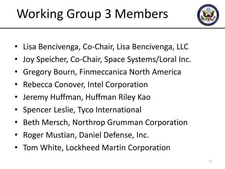Working Group 3 Members