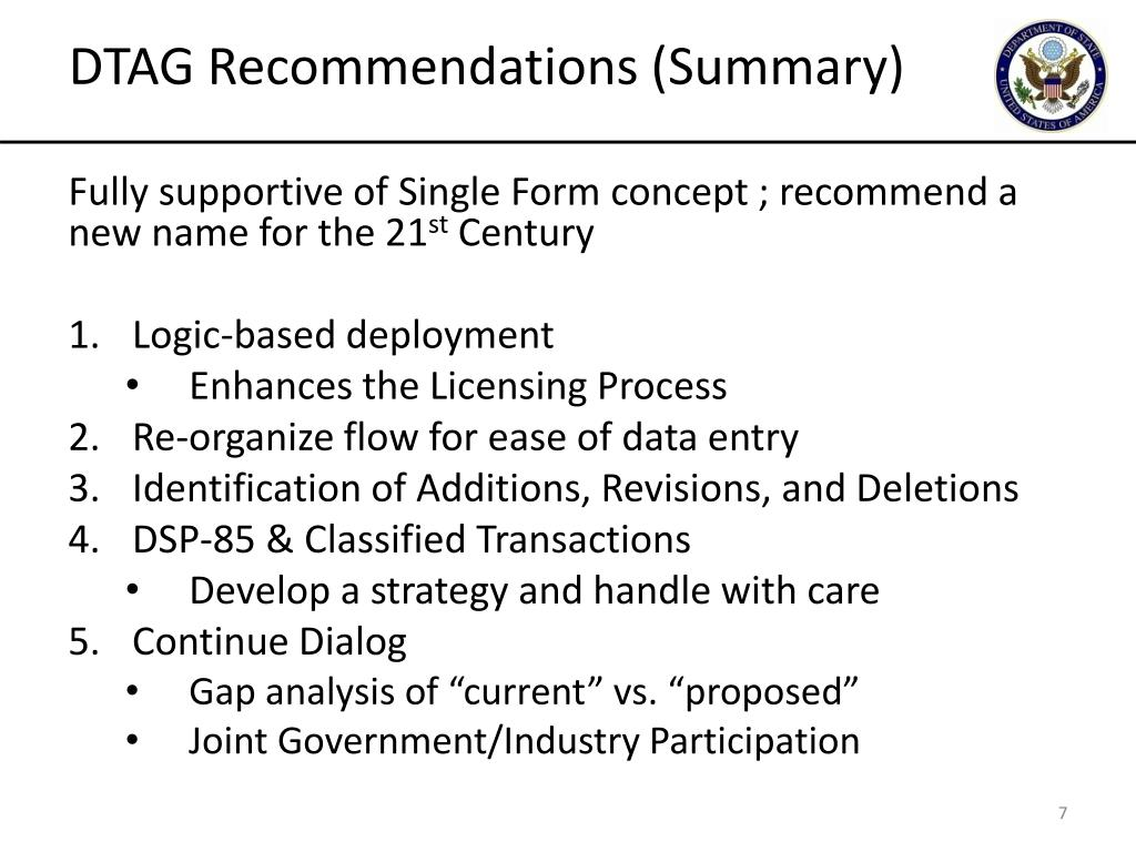 DTAG Recommendations (Summary)