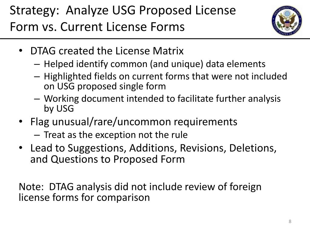 Strategy:  Analyze USG Proposed License Form vs. Current
