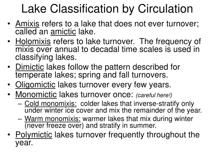 Lake Classification by Circulation