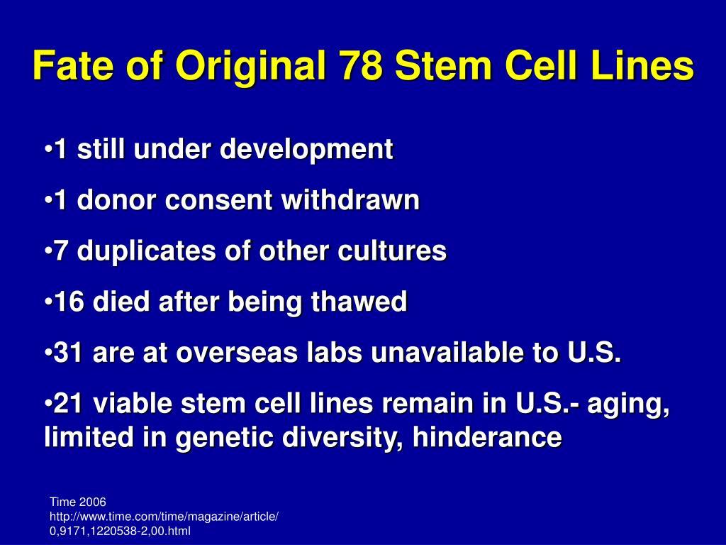 Fate of Original 78 Stem Cell Lines