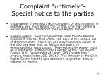 complaint untimely special notice to the parties