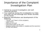 importance of the complaint investigation plan