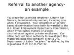 referral to another agency an example