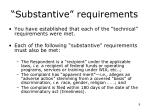 substantive requirements