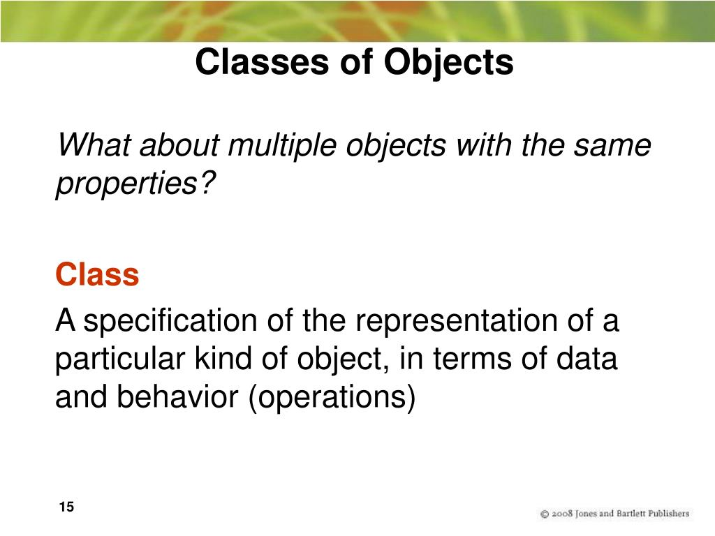 Classes of Objects