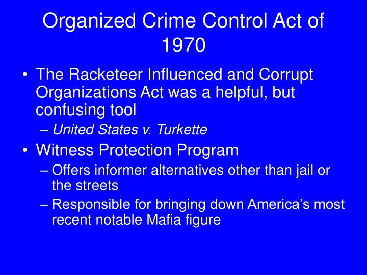 an introduction to racketeer influenced and corrupt organizations act rico Comments civil rico: before and after sedima i introduction a substantial debate has ensued regarding the application of the racketeer influenced and corrupt organizations act.