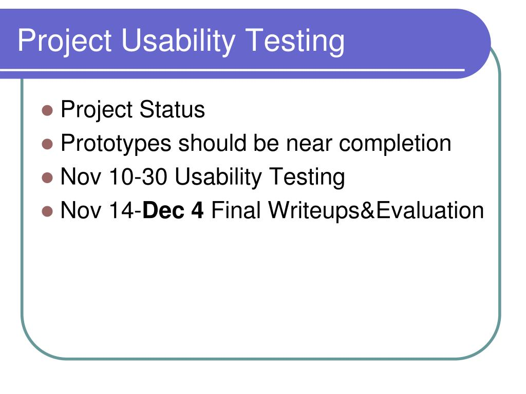 Project Usability Testing