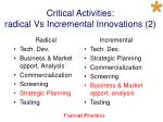 critical activities radical vs incremental innovations 2