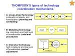 thompson s types of technology coordination mechanisms