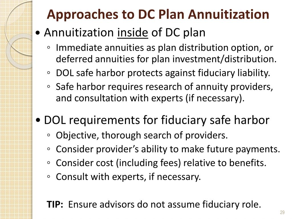 Approaches to DC Plan Annuitization