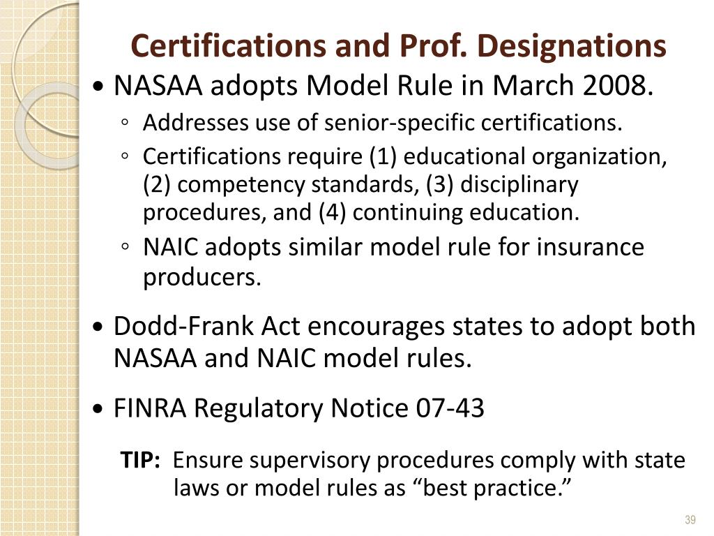Certifications and Prof. Designations