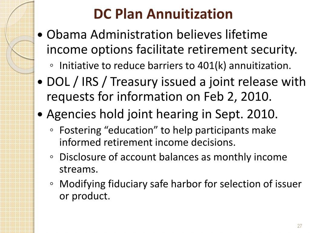 DC Plan Annuitization