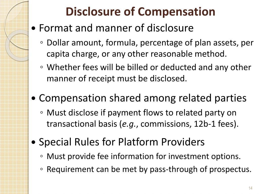 Disclosure of Compensation