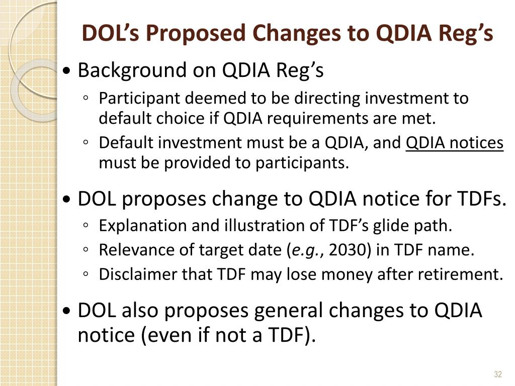 DOL's Proposed Changes to QDIA Reg's