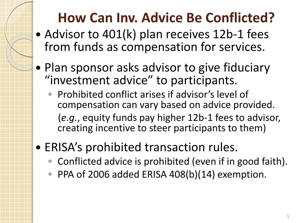 How Can Inv. Advice Be Conflicted?