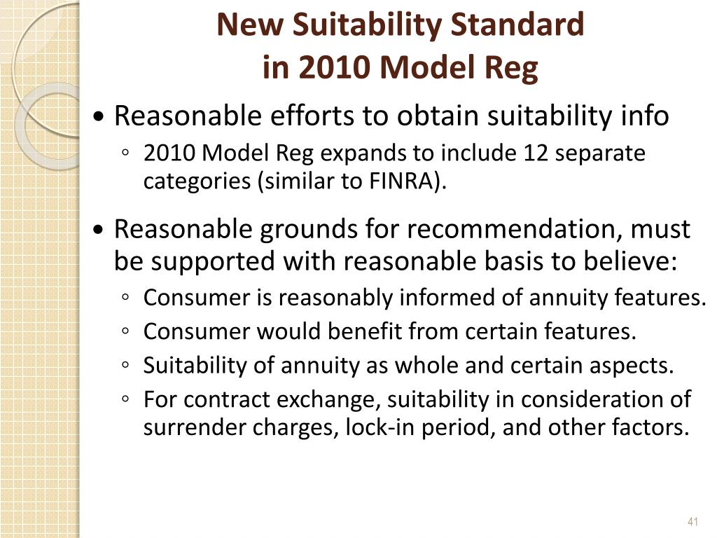 New Suitability Standard