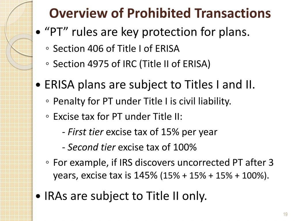 Overview of Prohibited Transactions