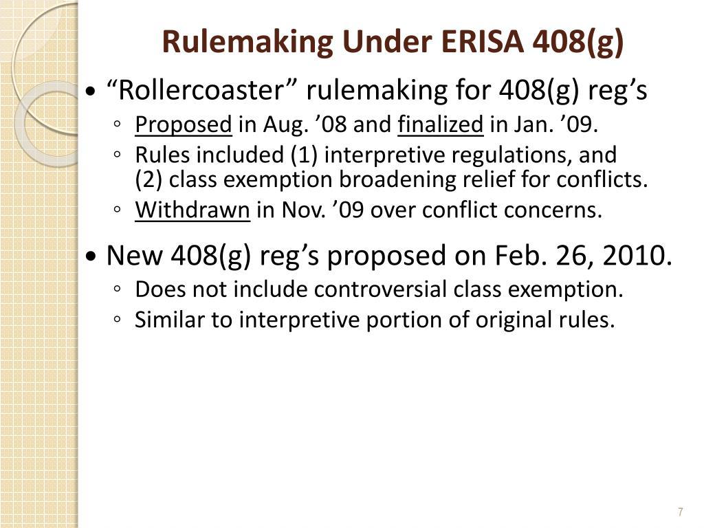 Rulemaking Under ERISA 408(g)