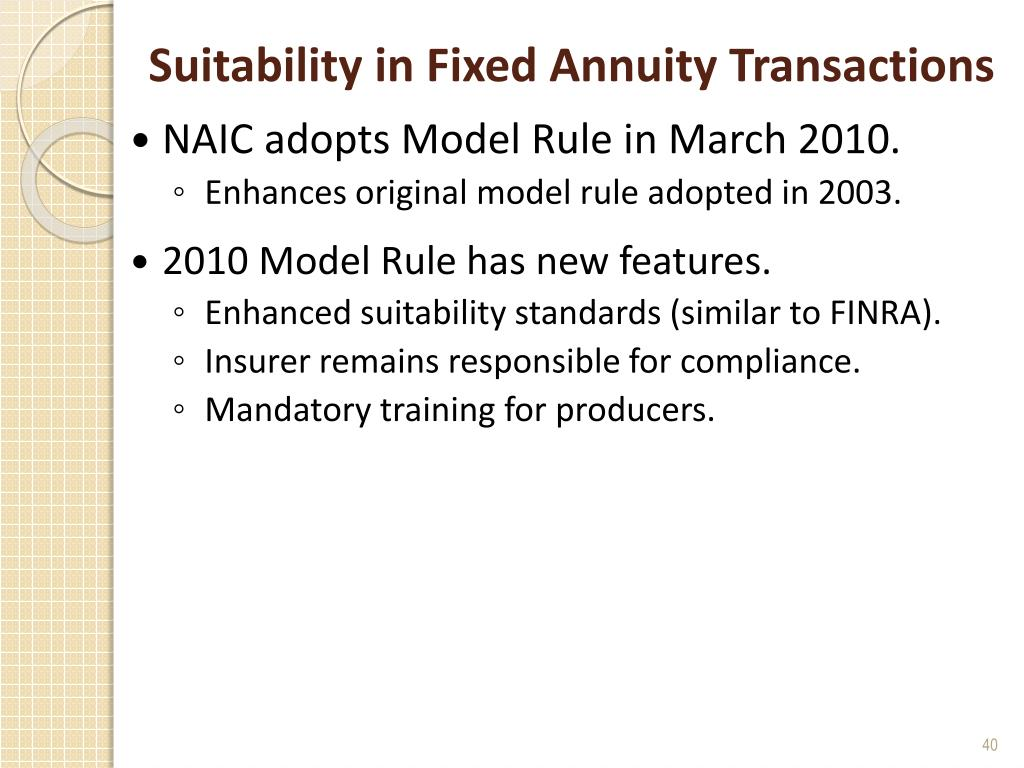 Suitability in Fixed Annuity Transactions