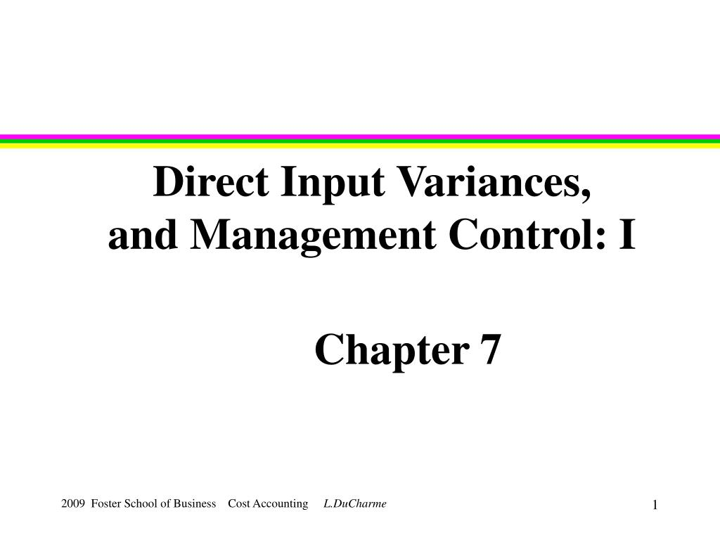 direct input variances and management control i l.
