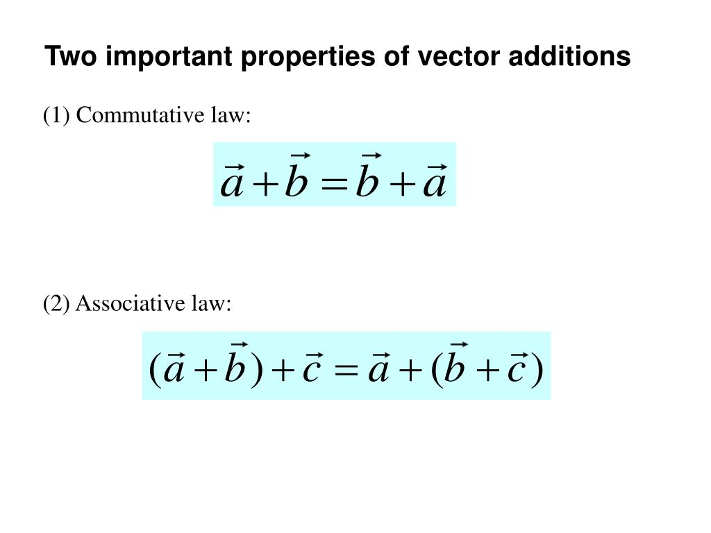 Two important properties of vector additions
