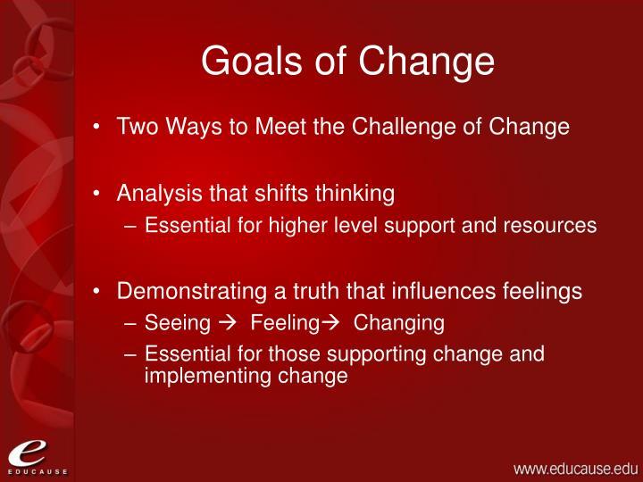 Goals of change