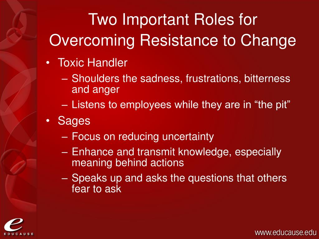 Two Important Roles for Overcoming Resistance to Change