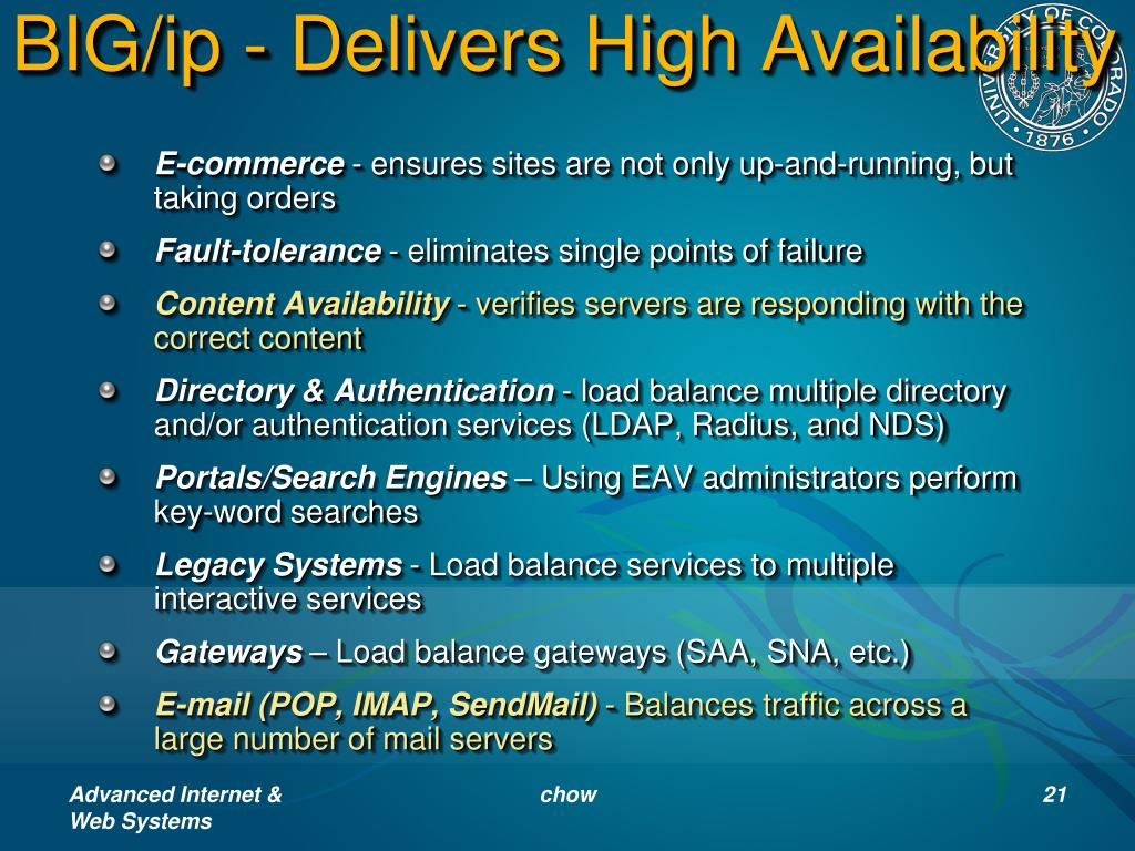 BIG/ip - Delivers High Availability