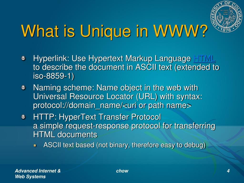 What is Unique in WWW?