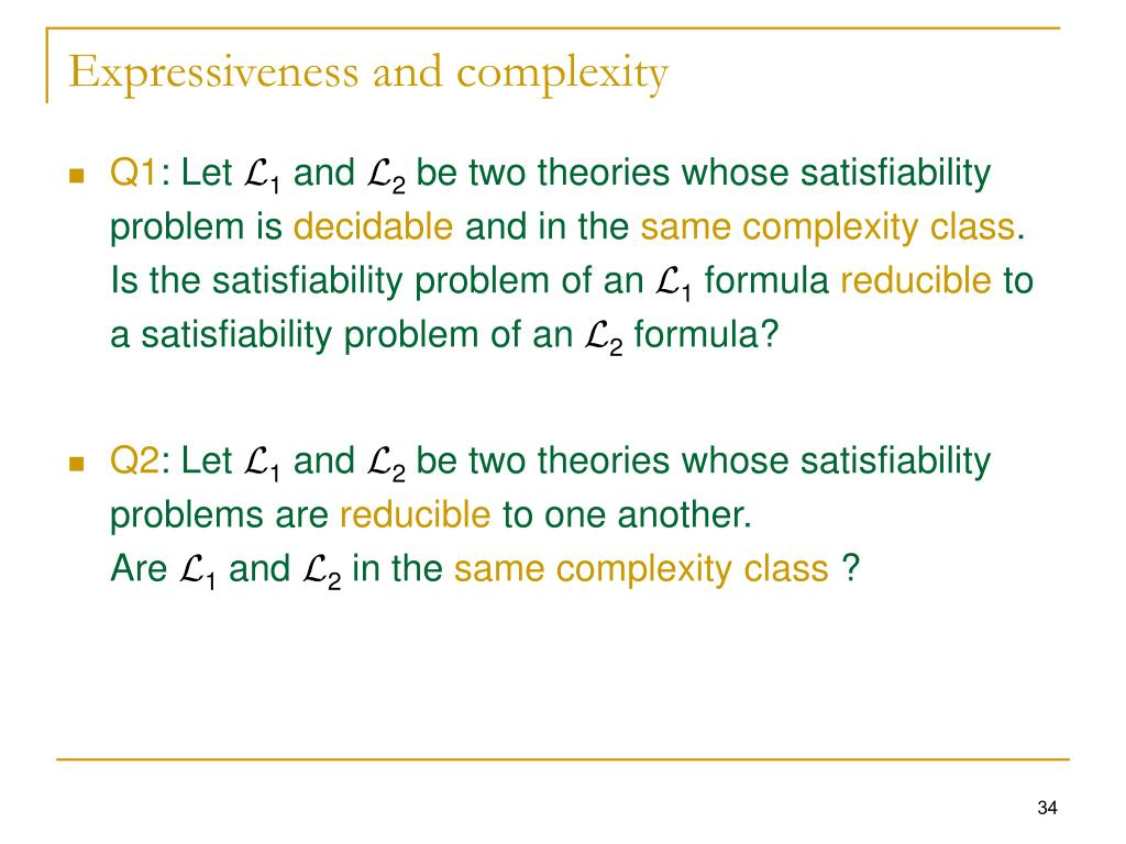 Expressiveness and complexity
